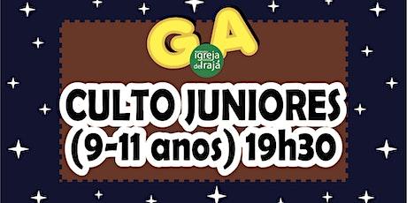 CULTO G.A - JUNIORES (9 A 11 ANOS) - 01/08/2021 - 19:30 ingressos