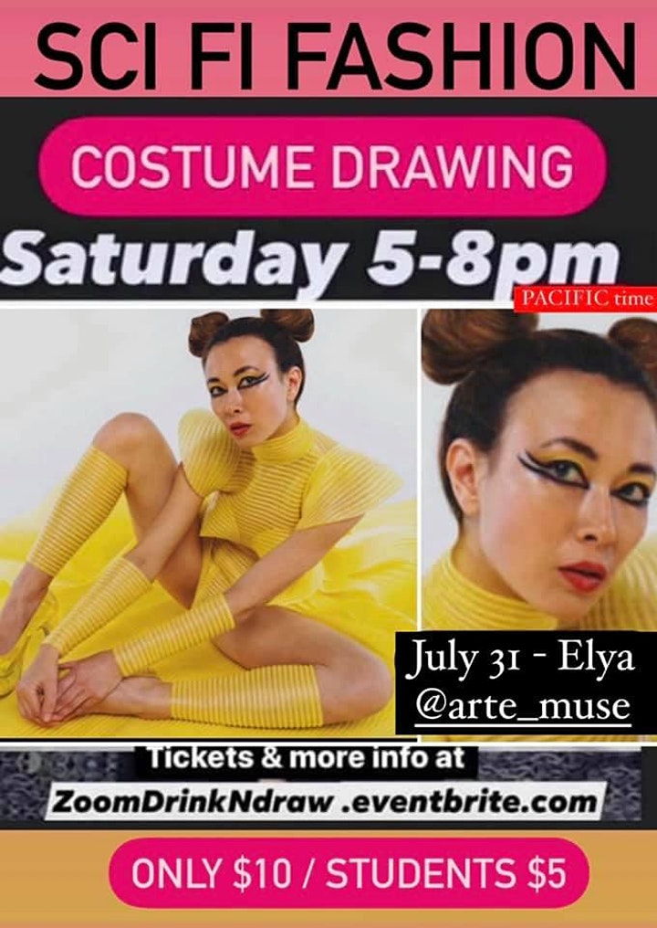 Drink & Draw Online - Costumed Model Drawing image
