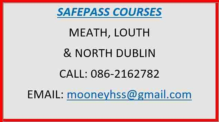 SafePass Course:  Saturday 21st August 2021 €165 image