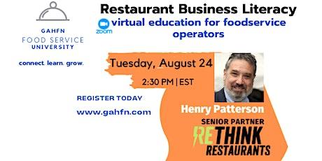 Restaurant Business Literacy tickets