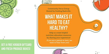 What Makes it Hard to Eat Healthy: Community Focus Group tickets