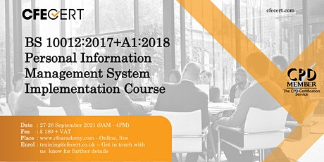 BS 10012:2017+A1:2018 PIMS Implementation Course tickets