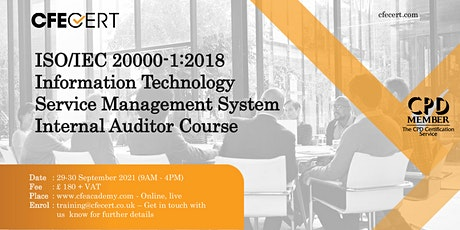 ISO/IEC 20000-1:2018 ITSMS Internal Auditor Course tickets