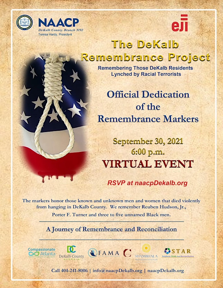 """NAACP DeKalb Remembrance Project """"Virtual"""" Closing Ceremony image"""