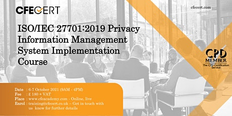 ISO/IEC 27701:2019 PIMS Implementation Course tickets