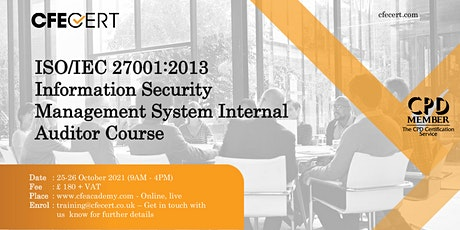 ISO/IEC 27001:2013 ISMS Internal Auditor Course tickets