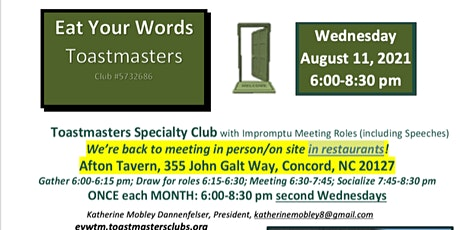 Eat Your Words Toastmasters Monthly Meeting - August 2021 tickets