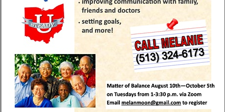 """Council on Aging's FREE Healthy """"U"""" Matter of Balance Workshop tickets"""