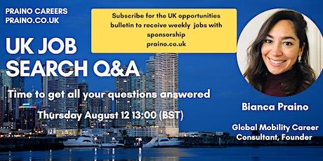 UK job search Q&A tickets