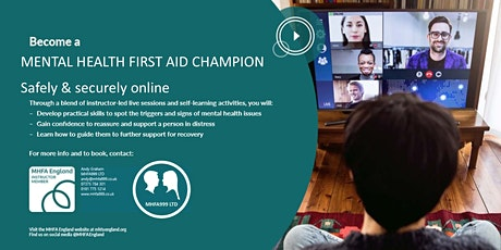 Online Mental Health First Aid Champion Course (MHFA England Accredited) tickets
