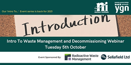 YGN Intro to Waste Management and Decommissioning Webinar tickets