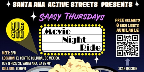 SAASy Thursday's-Movie Night Ride tickets