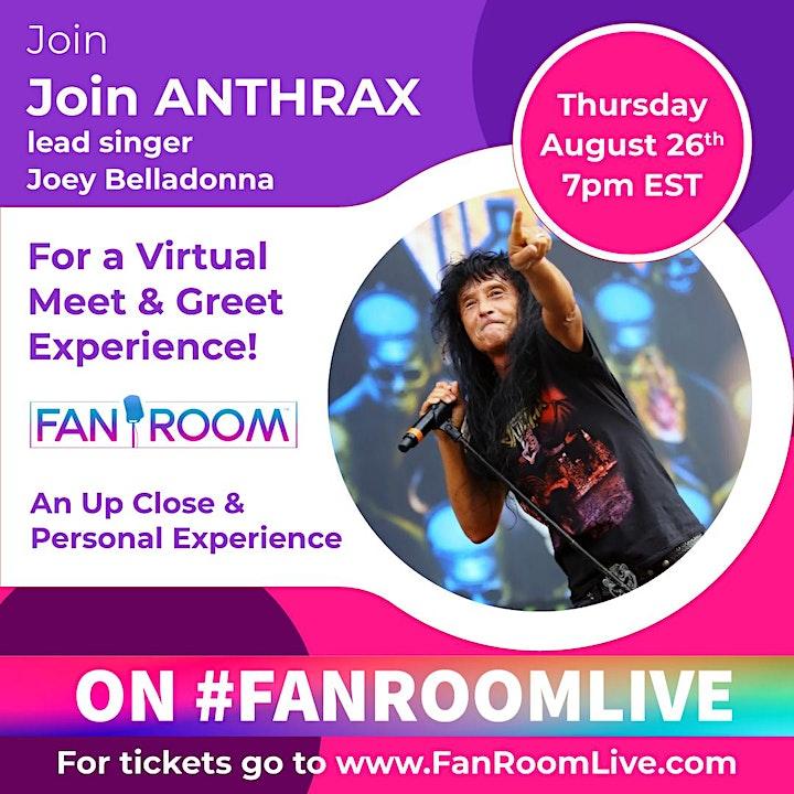 Anthrax Lead Singer Joey Belladonna hosts FanRoom Live Thursday August 26th image