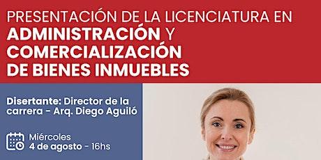 PRESENTACIÓN: Licenciatura en Administración y Comercialización de Inmueble entradas