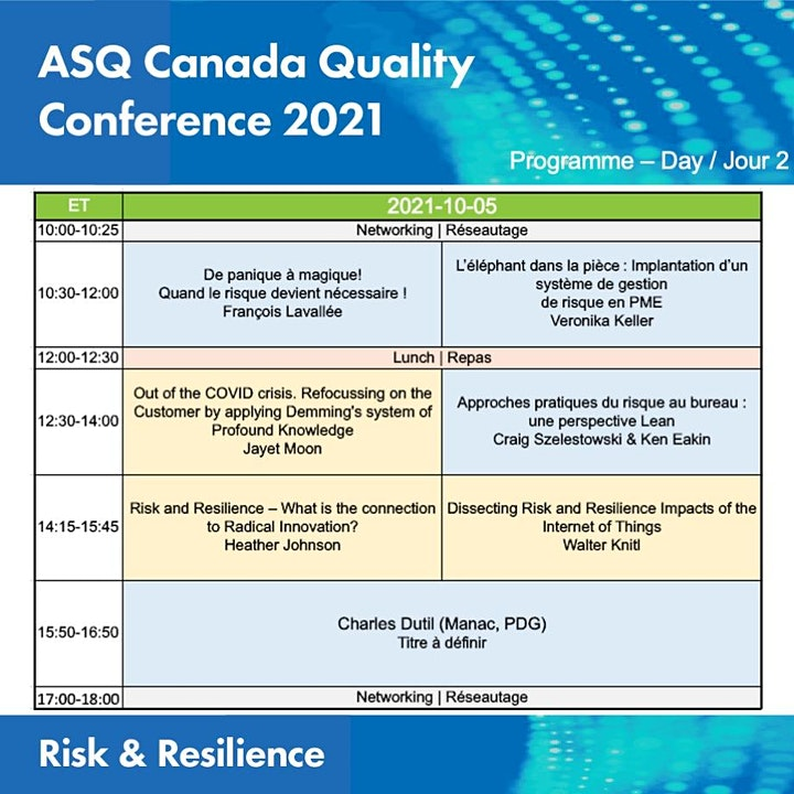 ASQ Canada Quality Conference 2021/ASQ Canada Conférence Qualité 2021 image