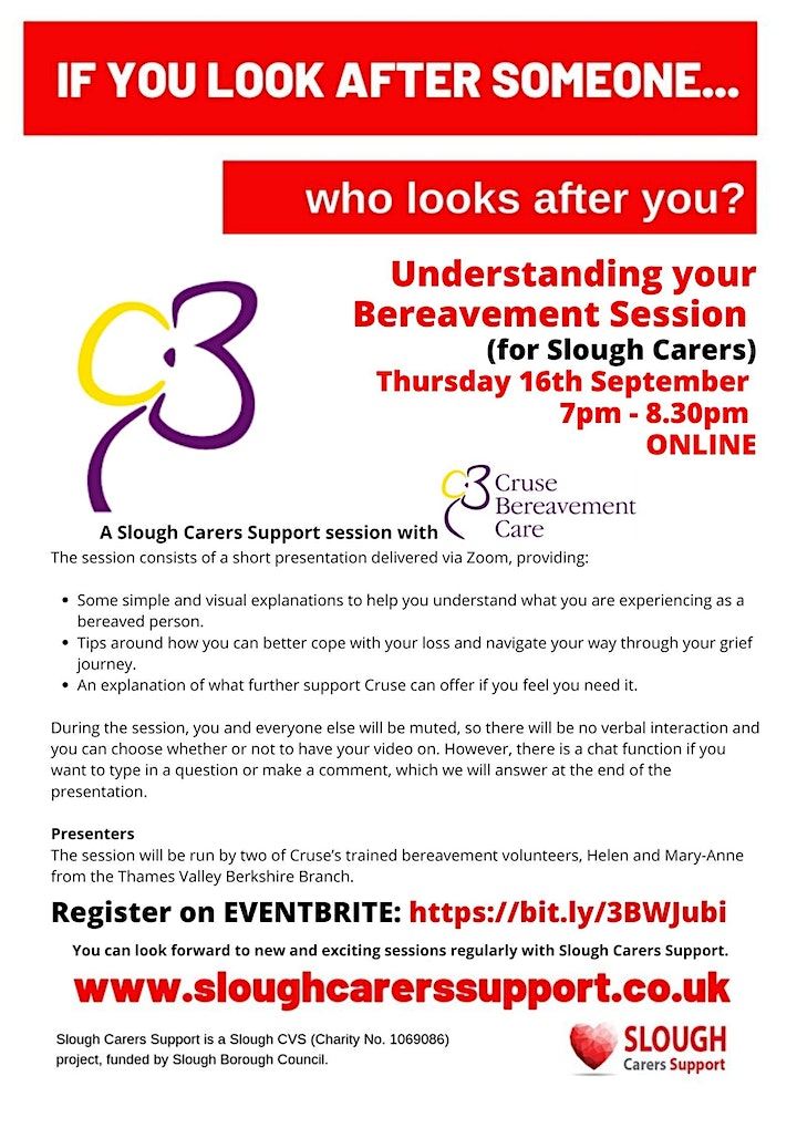 Understanding Loss and Bereavement Session  For Slough Carers image