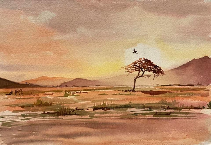 The Friday Gallery Watercolour painting online class: African sunset image