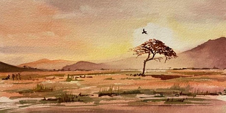 The Friday Gallery Watercolour painting online class: African sunset tickets