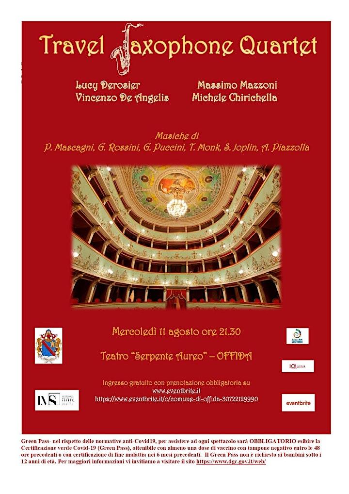 Immagine TRAVEL SAXOPHONE QUARTET - 11 Agosto - ore 21.30 - Teatro Serpente Aureo