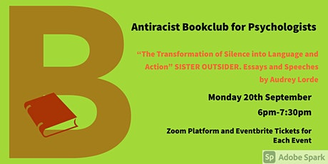 September Antiracist Bookclub for Psychologists Zoom Meeting.  Audrey Lorde tickets