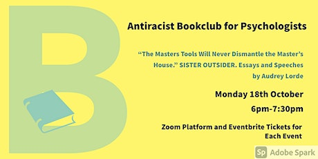 October Antiracist Bookclub for Psychologists Zoom Meeting. Audrey Lorde. tickets