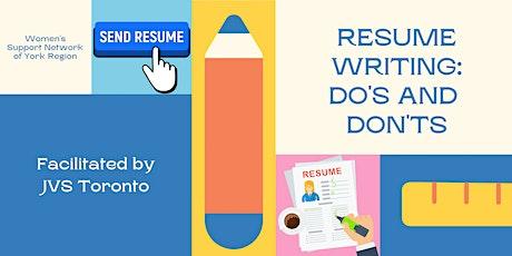 Resume Writing: Do's & Don'ts tickets