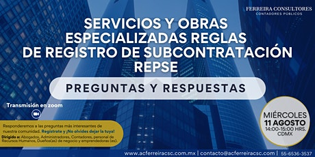 Servicios y Obras Especializadas. Reglas de Regístro de Subcontratación boletos