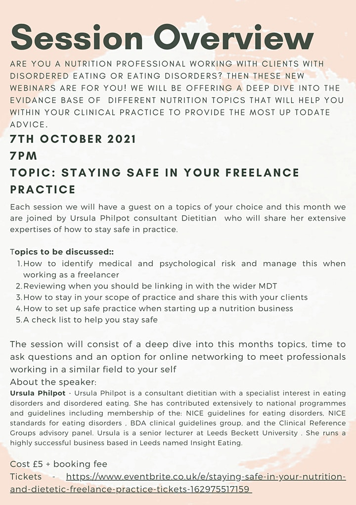 Staying safe in your Nutrition and Dietetic freelance practice image