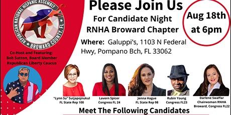"""Republican National Hispanic Assembly Broward """"Meet The Candidate""""  Event tickets"""