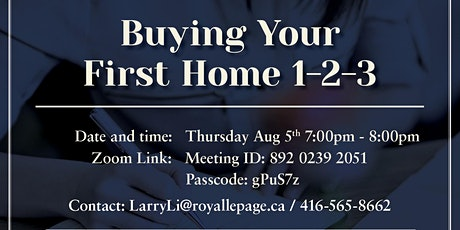 Free webinar invitation - first time home buyer - Aug 5th Thursday 7:00pm tickets