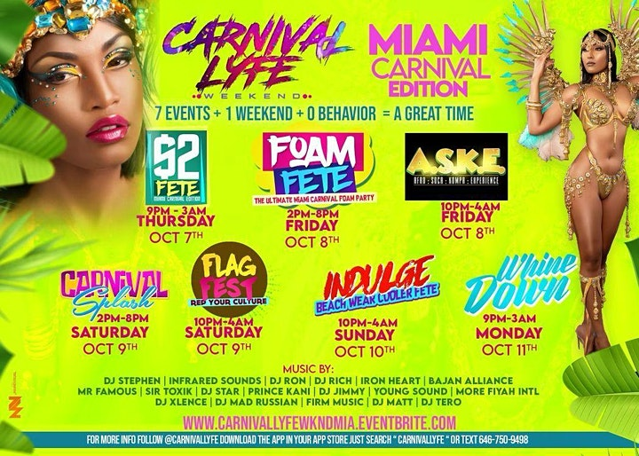 CARNIVALLYFE WEEKEND   7+ EVENTS   MIAMI CARNIVAL WEEKEND 2021 image