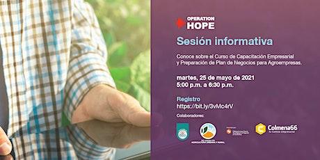 Sesión Informativa: Curso Preparación Plan de Negocios para Agro empresas boletos