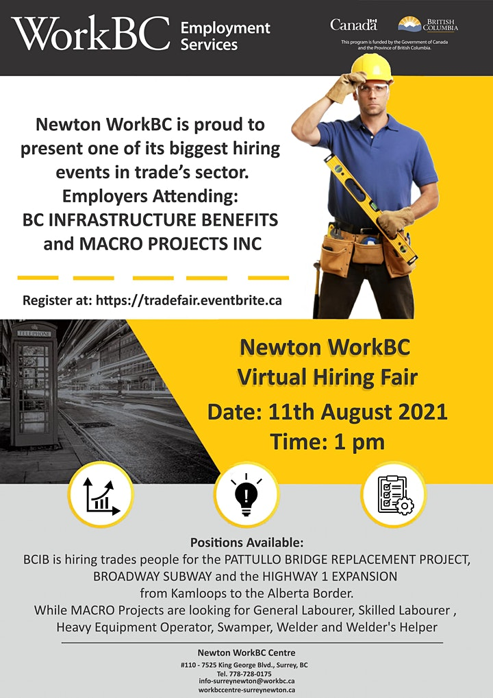 Newton WorkBC Virtual Hiring Fair  with Trades Sector image