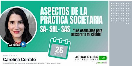 Aspectos de la práctica societaria SA- SRL- SAS boletos