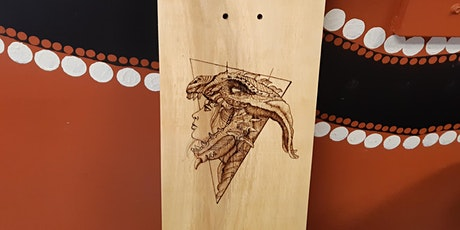 Skateboard art  pyrography workshop for youth tickets