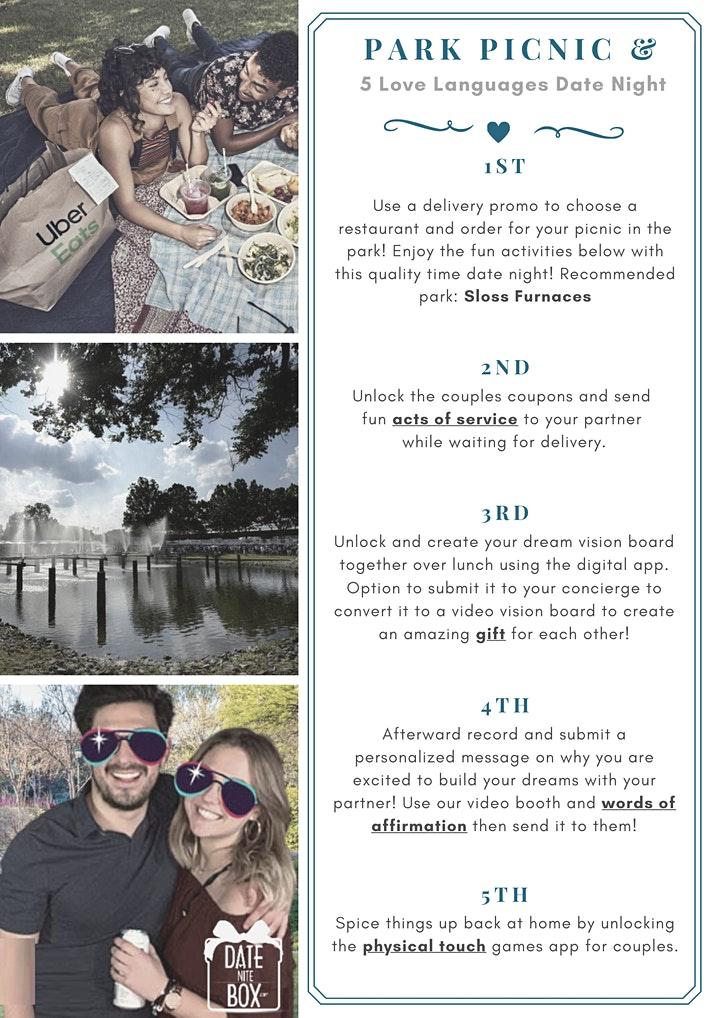 Pop-Up Picnic in the Park Couple Date Night+ 5 Love Languages (Self-Guided)