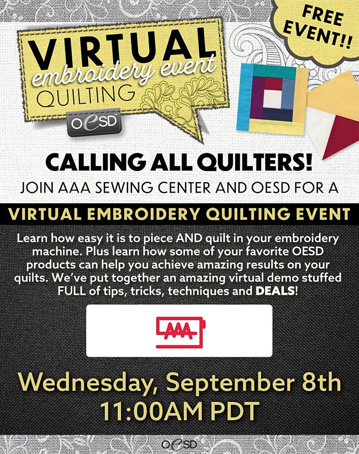 AAA Sewing Center Virtual Embroidery Event image