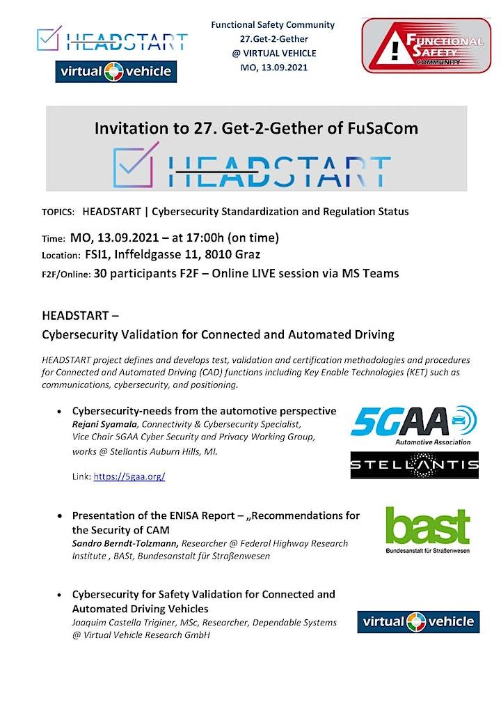[F2F] 27th Get2Gether - HEADSTART + Cybersecurity Status: Bild