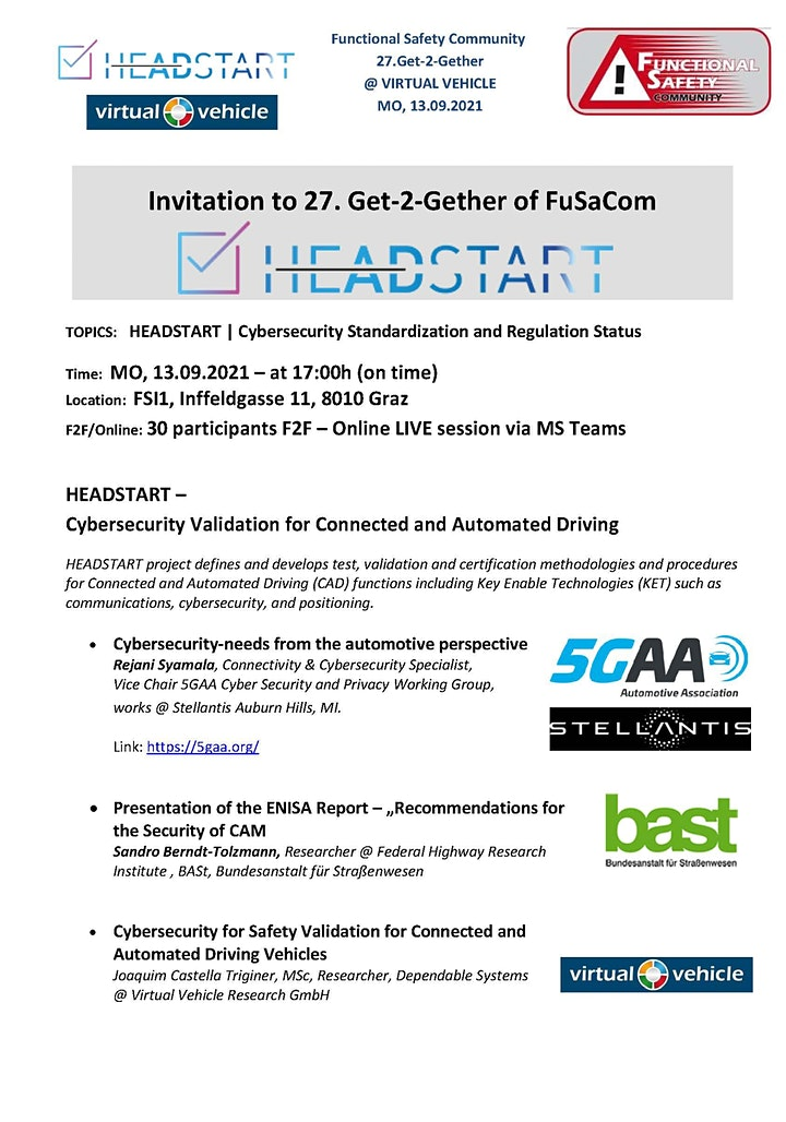 [ONLINE] 27th Get2Gether - HEADSTART + Cybersecurity Status: Bild