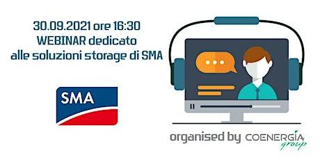 30.09.2021 Webinar dedicato  alle soluzioni storage di SMA biglietti
