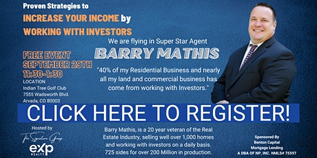 Proven Strategies to  INCREASE YOUR INCOME by  WORKING WITH INVESTORS tickets