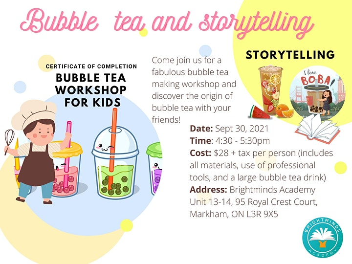 Bubble Tea Making and Storytelling Workshop for Kids (In-person event) image