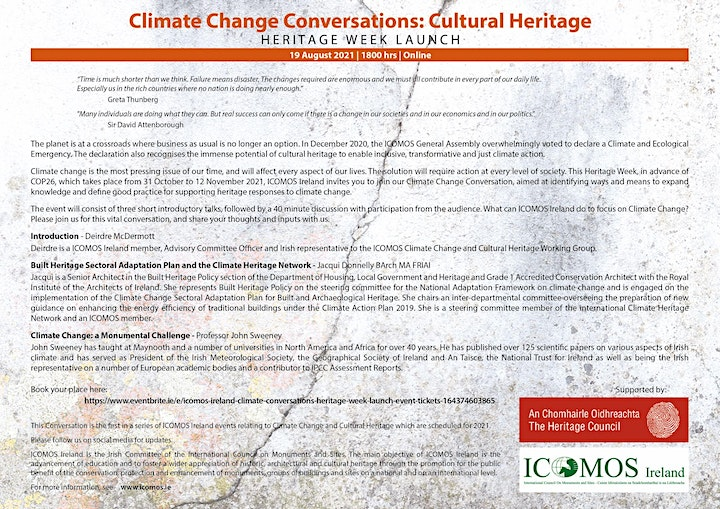 Climate Change Conversations: Cultural Heritage _ Series Launch image