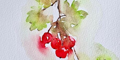 Paint, Dine & Wine watercolour masterclass London- Autumn Berries tickets