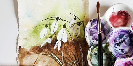 Paint, Dine & Wine watercolour masterclass London- Snowdrop flowers tickets