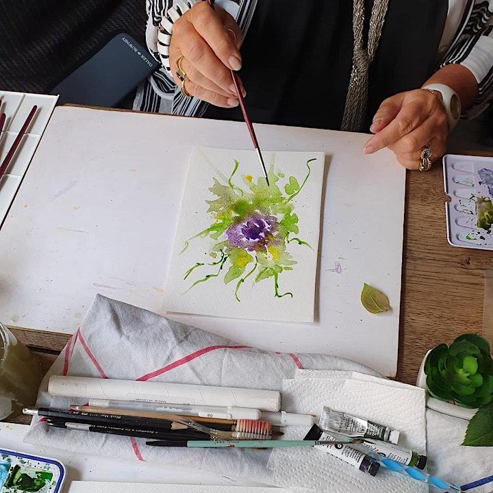 Paint, Dine & Wine watercolour masterclass London- Snowdrop flowers image
