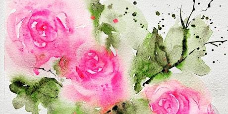 Paint, Dine & Wine watercolour masterclass London- Roses tickets