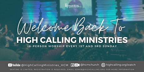 September 5th and 19th Sunday In-Person Worship Service tickets