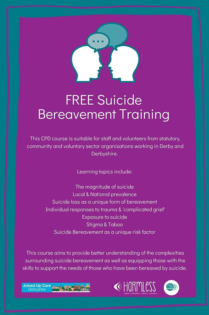 Suicide Bereavement Training for Derby & Derbyshire - FREE ONLINE image