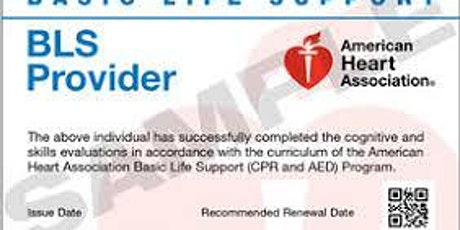 BLS (CPR, AED, Choking) $10 Seat Hold/$55 Balance at Class Required tickets